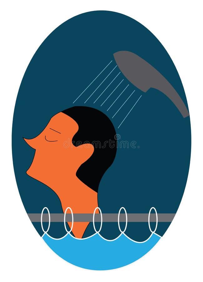 Mężczyzna bierze prysznic za zasłonę prysznicową na rysunku lub ilustracji ilustracja wektor