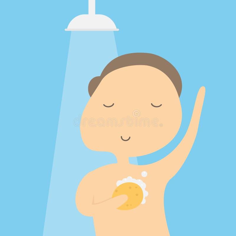 Mężczyzna biorący prysznic w łazience royalty ilustracja