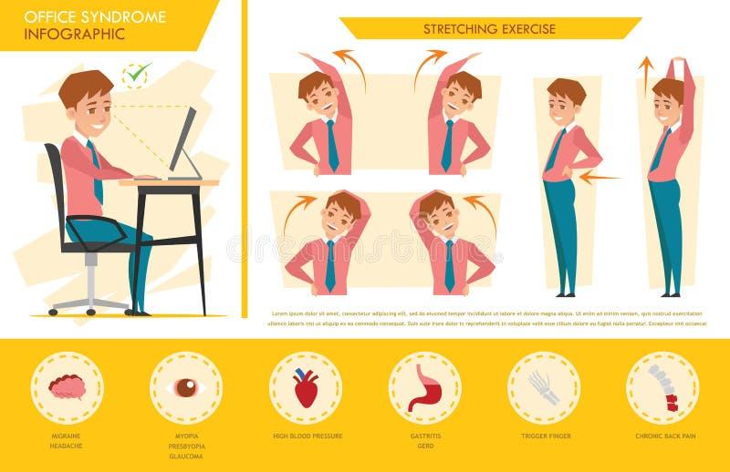 Mężczyzna biurowego syndromu ewidencyjna grafika i rozciąganie ćwiczymy ilustracji