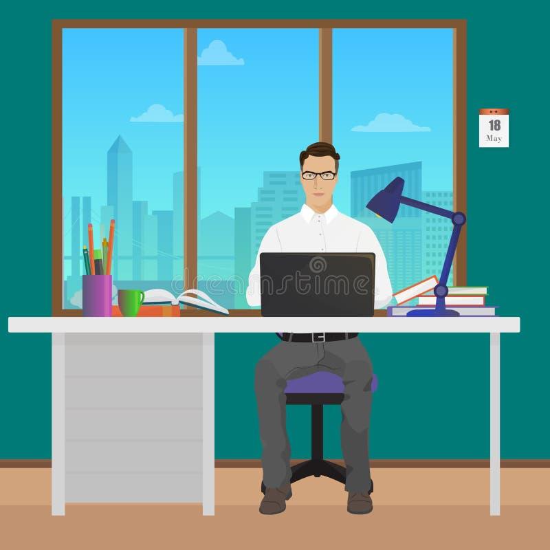 Mężczyzna biurowy kierownik w biurowym wnętrzu Bizneswoman osoba pracuje na laptopie ilustracji