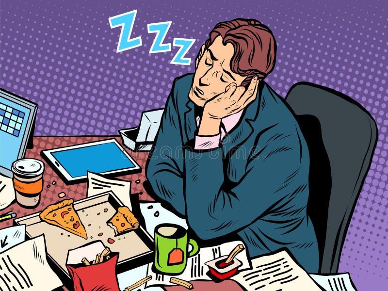 Mężczyzna biznesmena dosypianie na pracie ilustracja wektor
