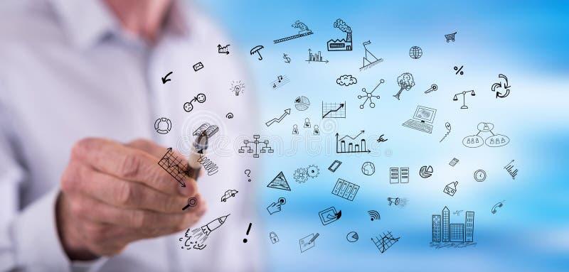Mężczyzna biznesu wzruszający doodles zdjęcie stock
