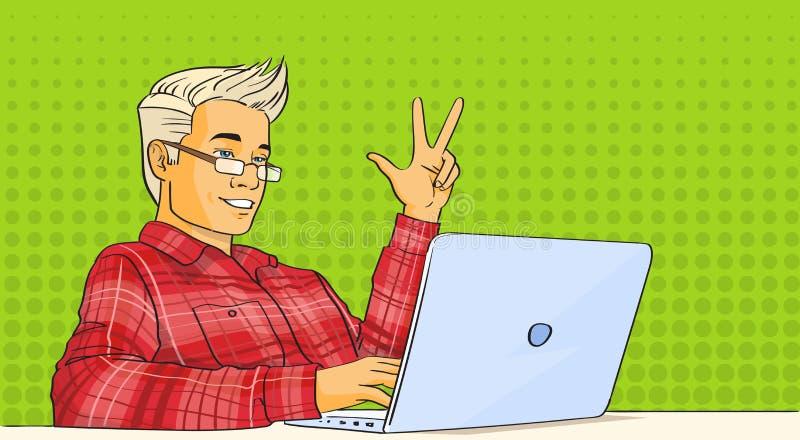 Mężczyzna blogu strumienia laptopu wystrzału sztuki Wideo Kolorowy Retro styl ilustracja wektor