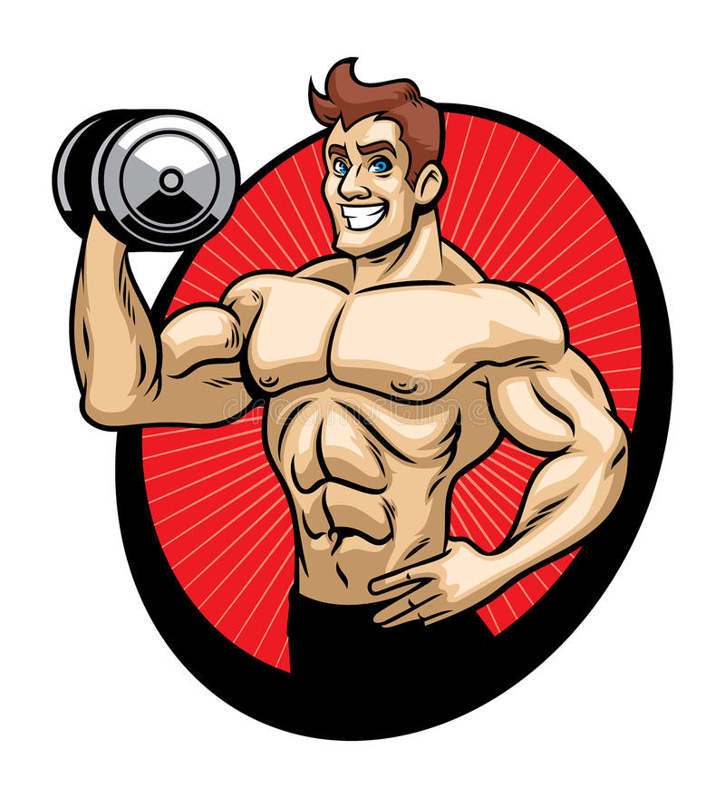 Mężczyzna bodybuilder maskotka ilustracja wektor