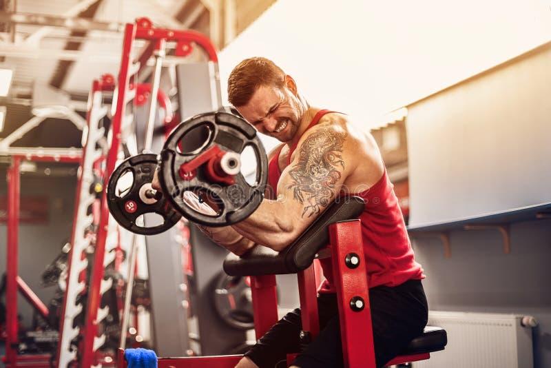 Mężczyzna bodybuilder robi setowi barbell ćwiczenie w gym Czasu rzeczywistego strzał obraz stock