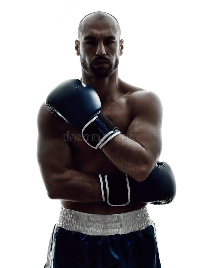 Mężczyzna boksery boksuje odosobnioną sylwetkę zdjęcie royalty free