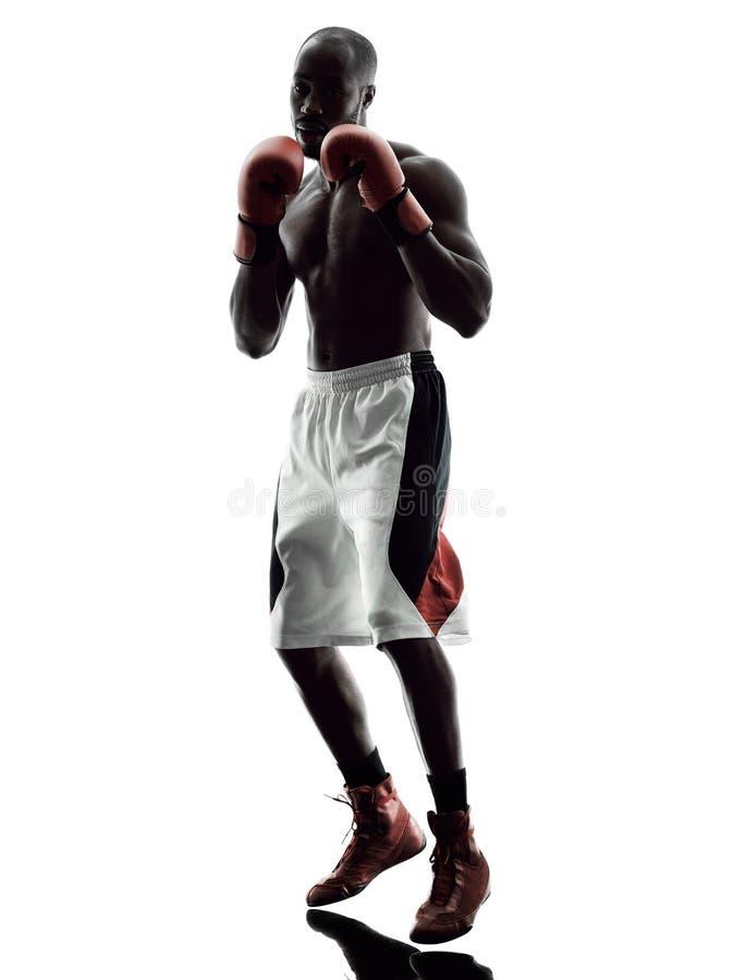 Mężczyzna boksery boksuje odosobnioną sylwetkę obrazy royalty free