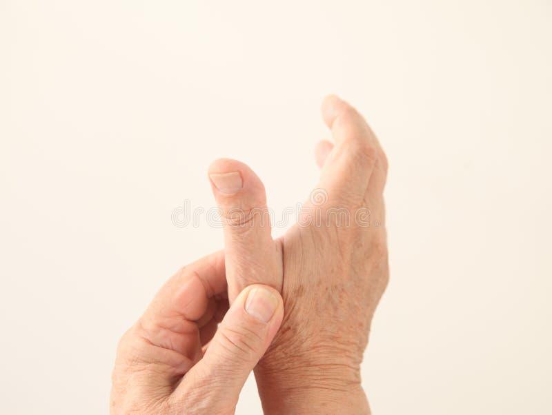 Mężczyzna bolącego kciuk fotografia stock