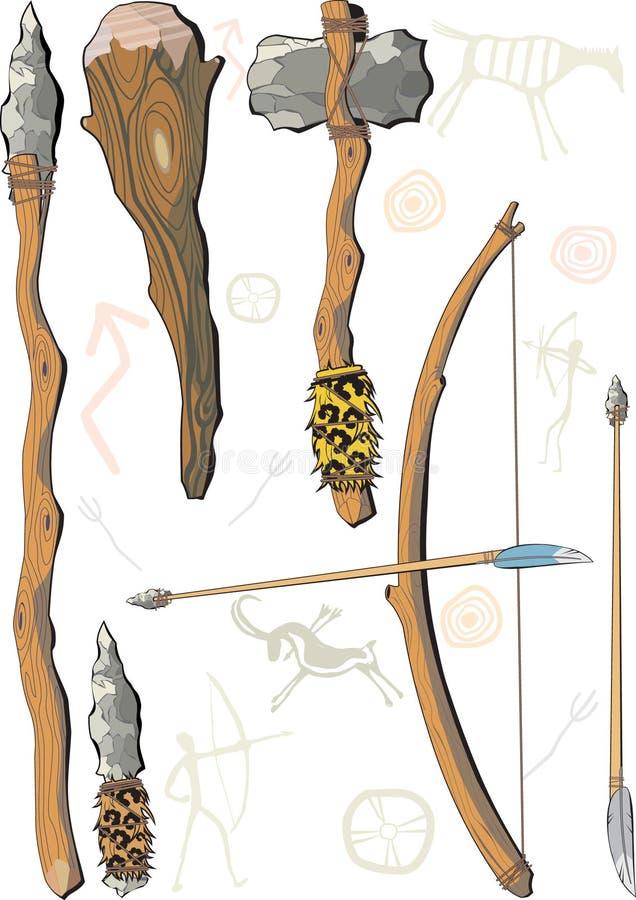 mężczyzna broń prehistoryczna ustalona ilustracji