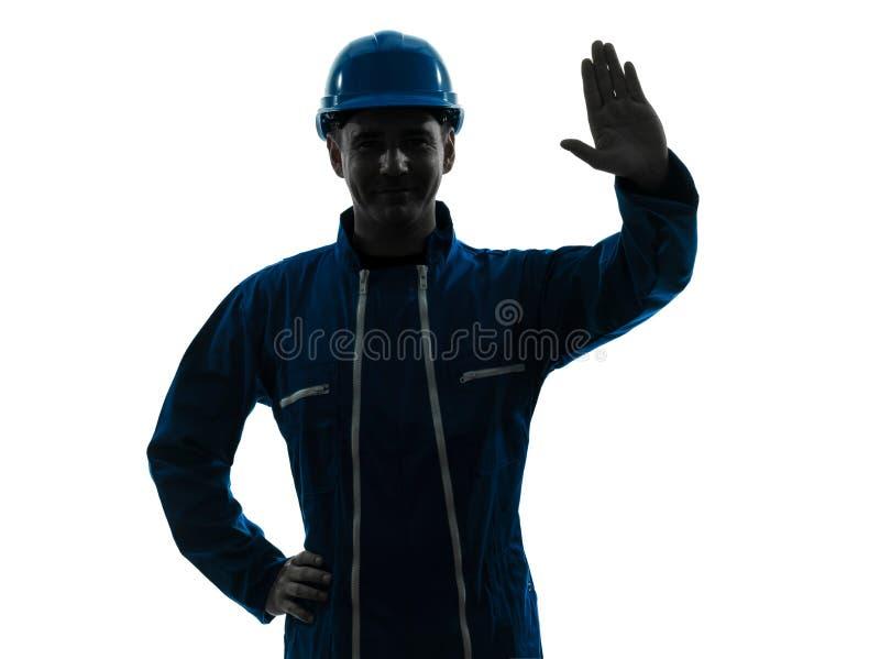 Mężczyzna budowy workwear sylwetki portret zdjęcie stock