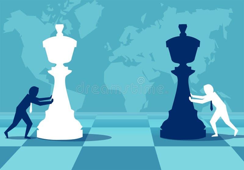 Mężczyzna buduje strategię bawić się szachy ilustracji