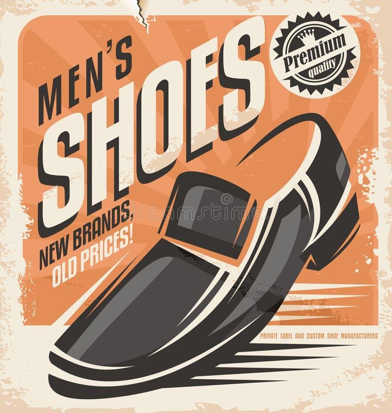 Mężczyzna butów projekta retro plakatowy pojęcie royalty ilustracja