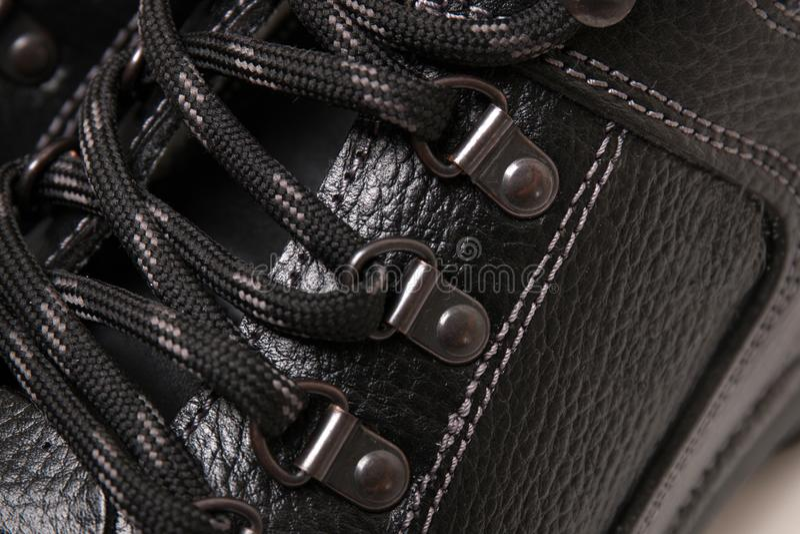 Mężczyzna buta koronki obrazy stock