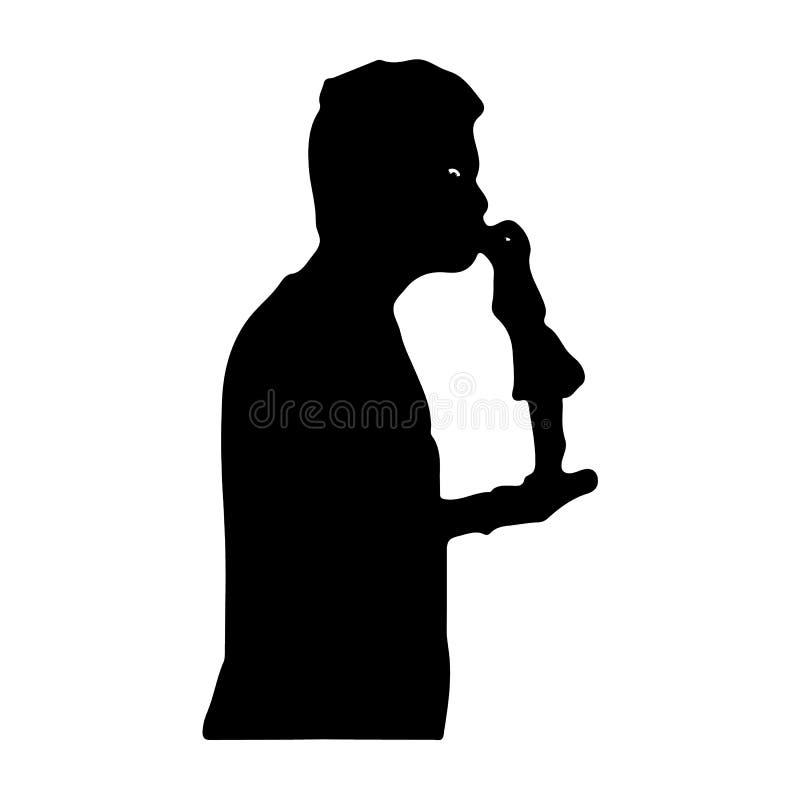 Mężczyzna całuje troszkę dziewczyny metaforę, sylwetka na białym backg royalty ilustracja