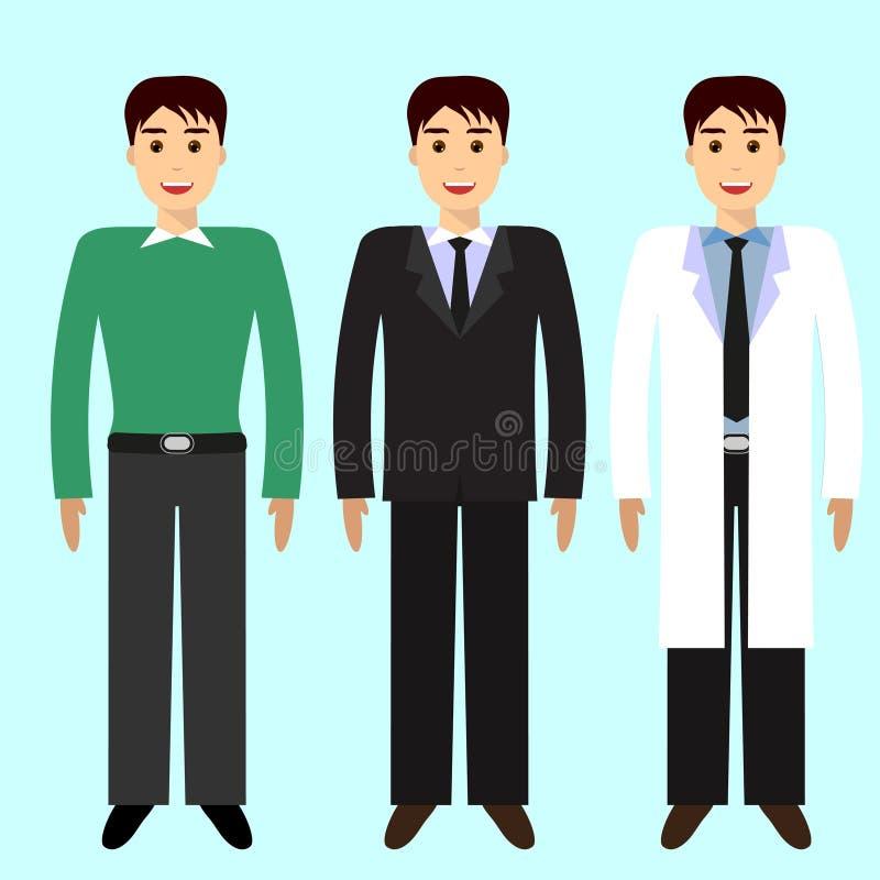Mężczyzna, 3 charakteru ilustracji