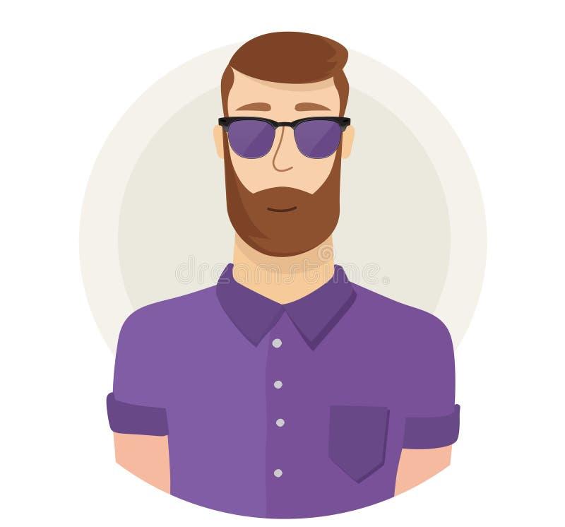 Mężczyzna charakteru modnisia twarzy avatar w szkłach Nowożytny mieszkanie styl męski portret chłopiec kreskówka zawodzący ilustr ilustracja wektor