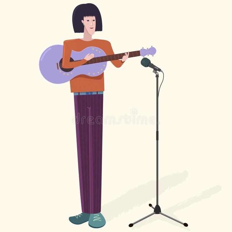 Mężczyzna charakteru muzyk z gitarą i mikrofonem Ładna wektorowa ilustracja ilustracji
