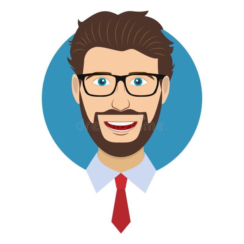 Mężczyzna charakteru twarzy avatar w szkłach ilustracja wektor