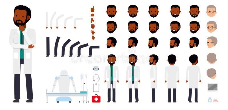 Mężczyzna charakteru tworzenia set Lekarka, lekarz, student medycyny, lekarz praktykujący, chirurg, dentysta royalty ilustracja
