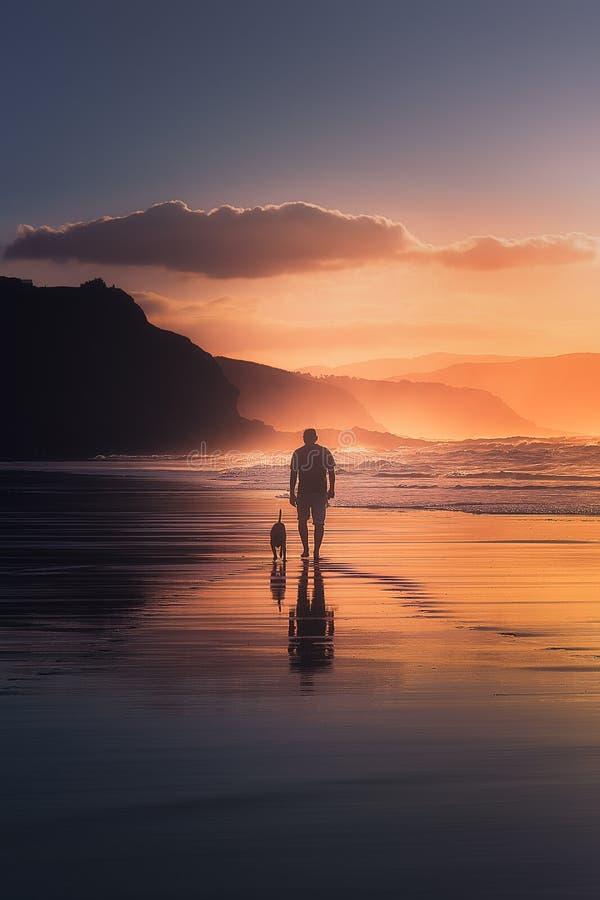 Mężczyzna chodzi psa na plaży obrazy royalty free