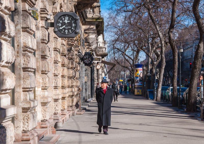 Mężczyzna chodzi wzdłuż Andrassy ulicy w Budapest, Węgry obrazy stock