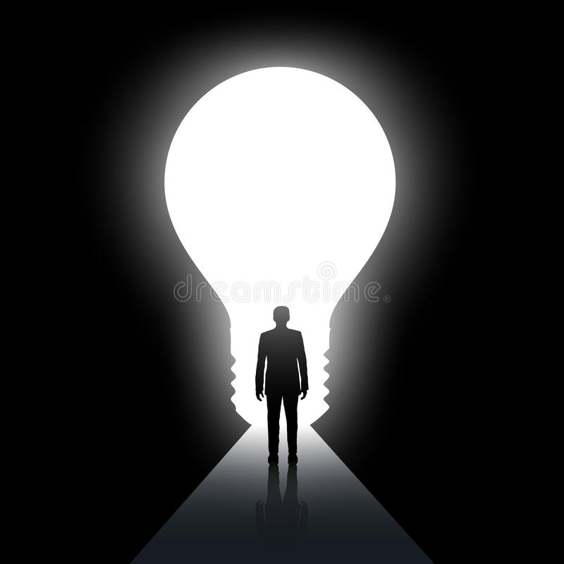 Mężczyzna chodzi wzdłuż ciemnego korytarza Wyjście w postaci lekkiego bul ilustracja wektor