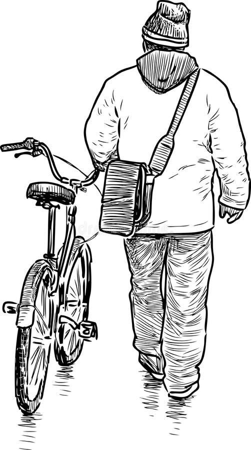 Mężczyzna chodzi z bicyklem ilustracja wektor