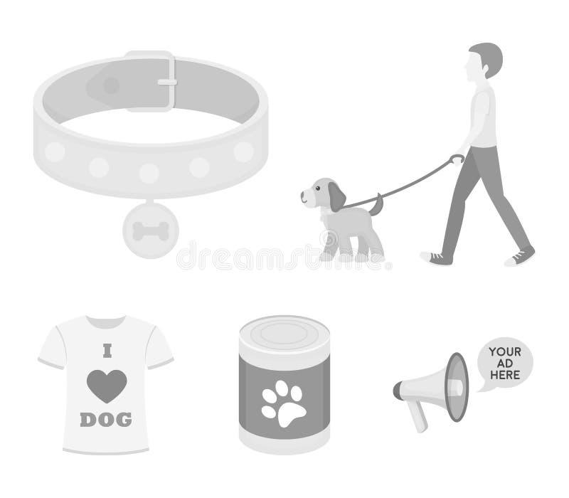 Mężczyzna chodzi z psem, kołnierz z medalem, jedzenie, koszulka kocham psa Pies ustalone inkasowe ikony w monochromu stylu royalty ilustracja