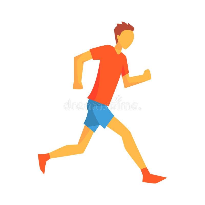 Mężczyzna Chroni energię Dla maratonu bieg, Męski sportowiec Biega ślad W Czerwonym wierzchołku I błękit Krótkiego W Bieżnej rywa ilustracji