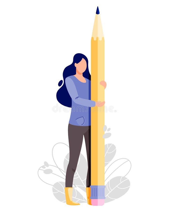 Mężczyzna chwyta duży ołówek Pisarska wektorowa ilustracja royalty ilustracja