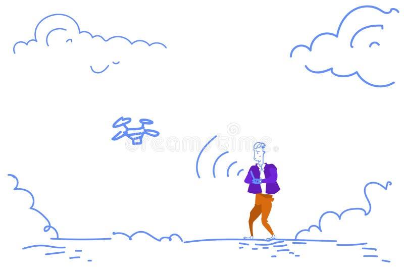 Mężczyzna chwyta pilot do tv wszczyna trutnia latania powietrza quadrocopter nakreślenia doodle horyzontalnego ilustracji