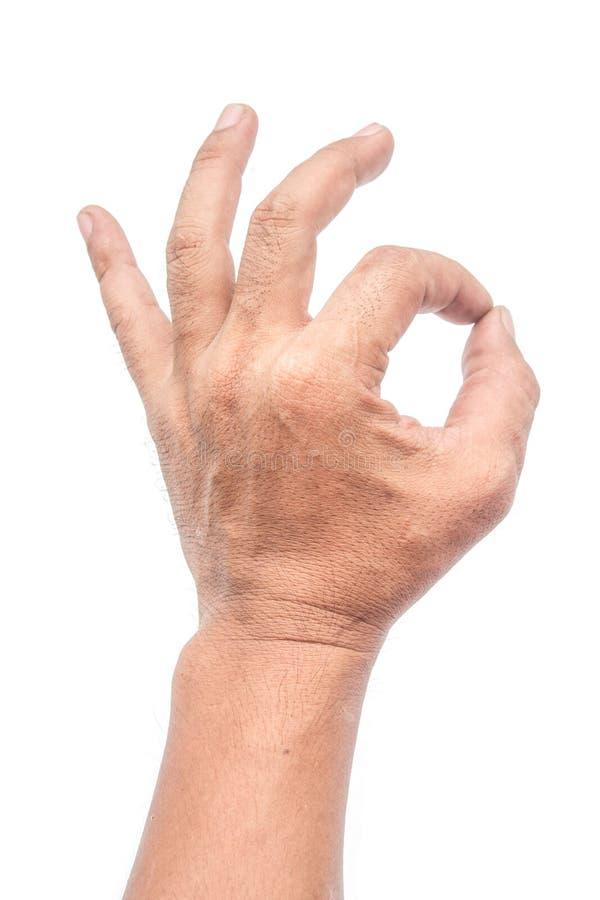 Mężczyzna chwyty dwa palca na białym tle zdjęcia royalty free