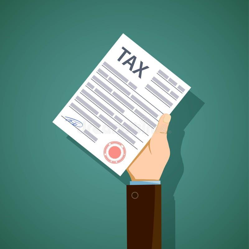 Mężczyzna chwyty w jego ręce forma podatku reportaż Akcyjny il ilustracja wektor