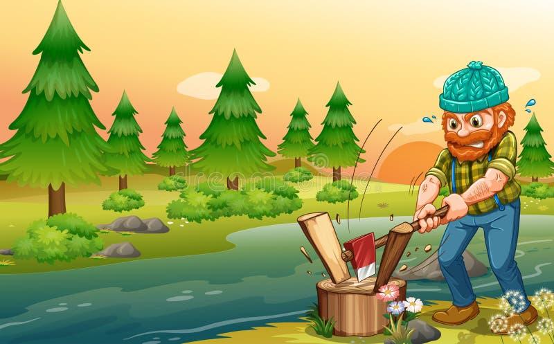 Mężczyzna ciapania drewna przy riverbank royalty ilustracja