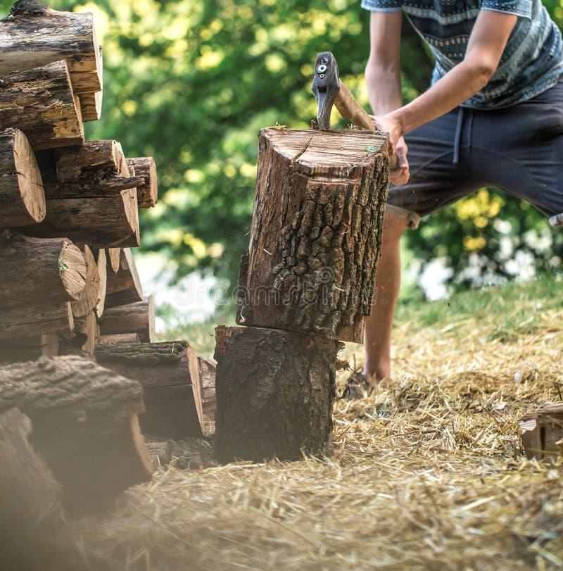 Mężczyzna ciapania drewno z cioską zdjęcie stock