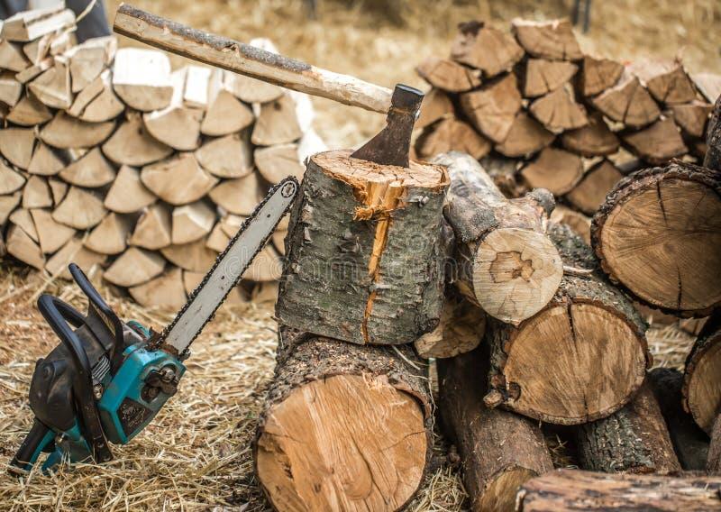 Mężczyzna ciapania drewno z piłą łańcuchową zdjęcie royalty free