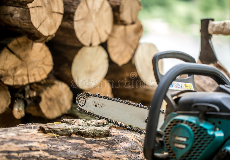 Mężczyzna ciapania drewno z piłą łańcuchową zdjęcie stock