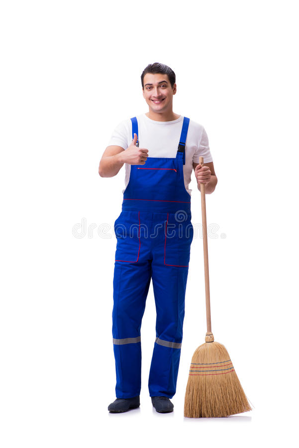 Mężczyzna cleaning podłoga odizolowywająca na bielu fotografia royalty free