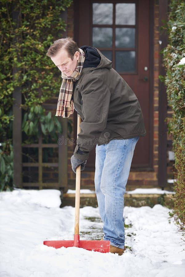 Mężczyzna Clearingowy śnieg Od ścieżki Z łopatą fotografia royalty free