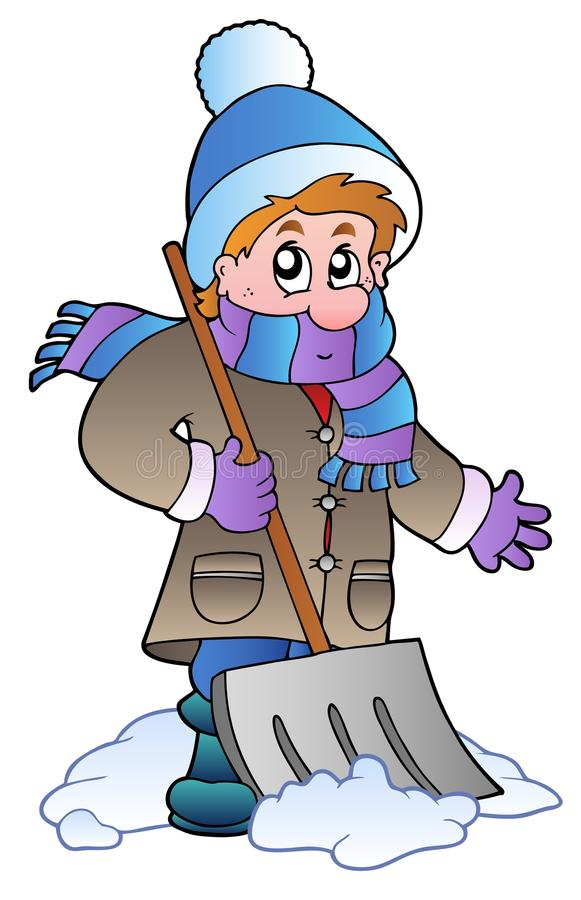 mężczyzna czyścić śnieg ilustracji