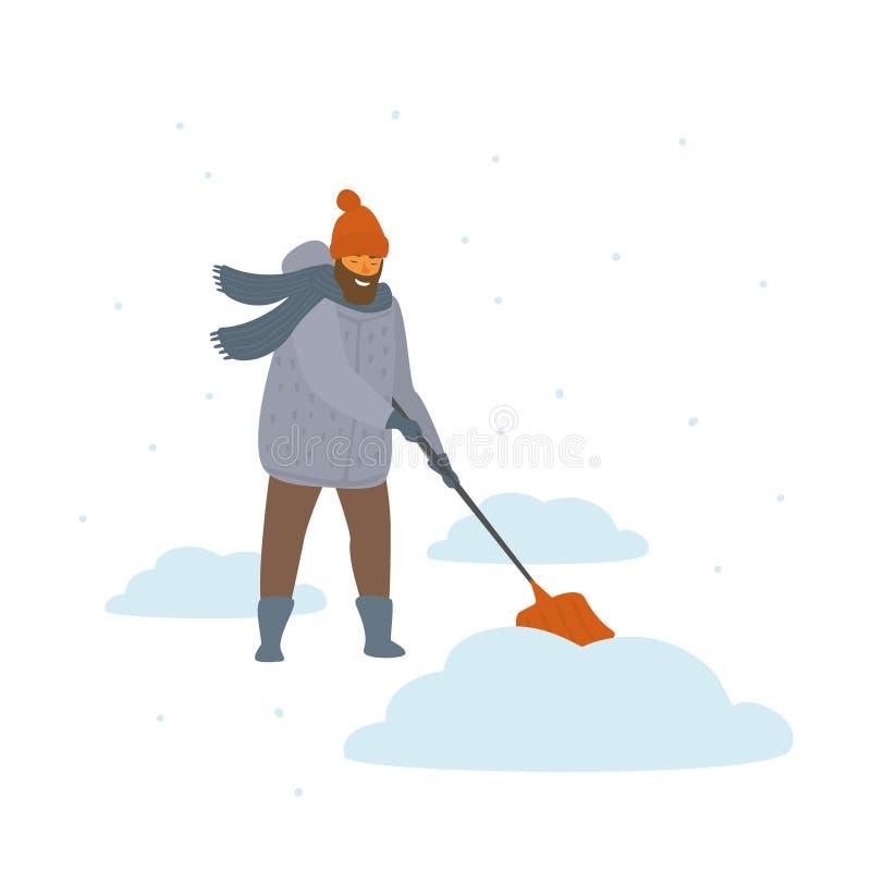 Mężczyzna czyści w górę przeszuflowywać śnieżna kreskówka odizolowywającą dryf wektorową ilustrację ilustracja wektor