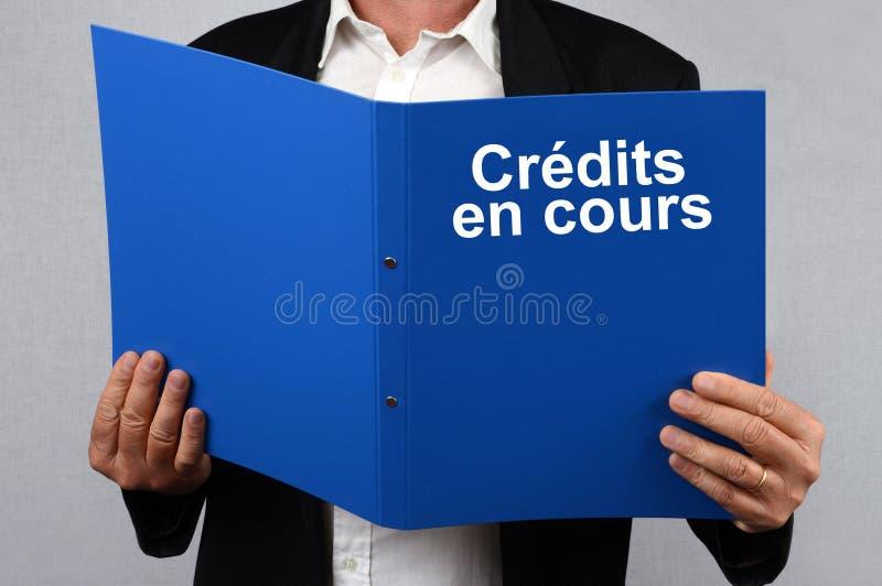 Mężczyzna czytelnicza Francuska kartoteka kredytuje w toku zdjęcie stock