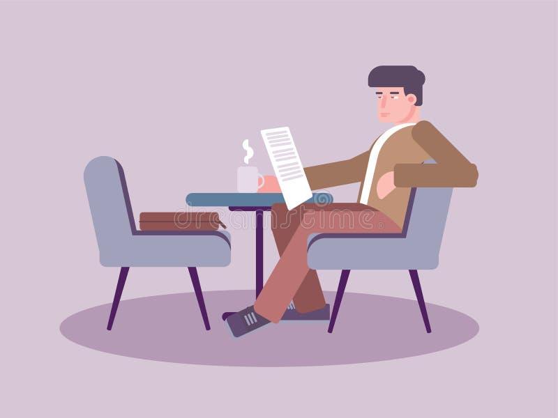 Mężczyzna czytelnicza gazeta w cukiernianej wektorowej ilustracji ilustracji