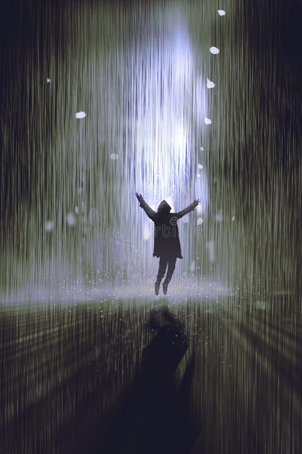 Mężczyzna dźwigania ręki w deszczu przy nocą ilustracja wektor