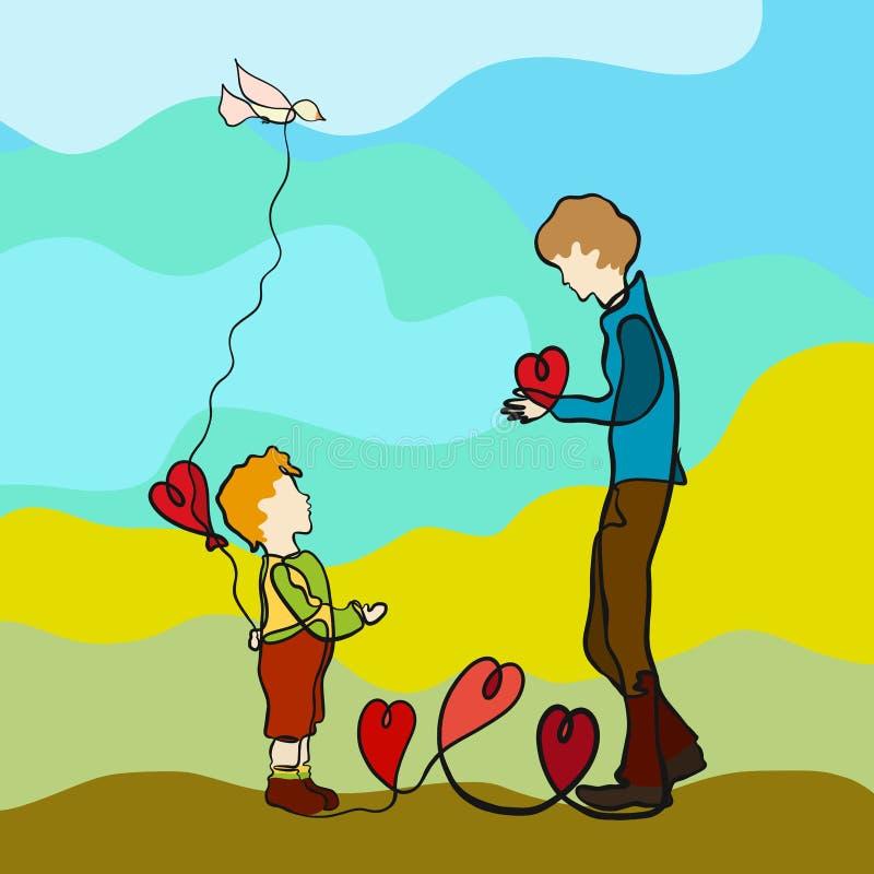 Mężczyzna daje dziecku sercu, chłopiec chwyty sercowaty balon za jego z powrotem royalty ilustracja