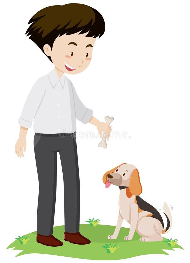 Mężczyzna daje kości pies royalty ilustracja