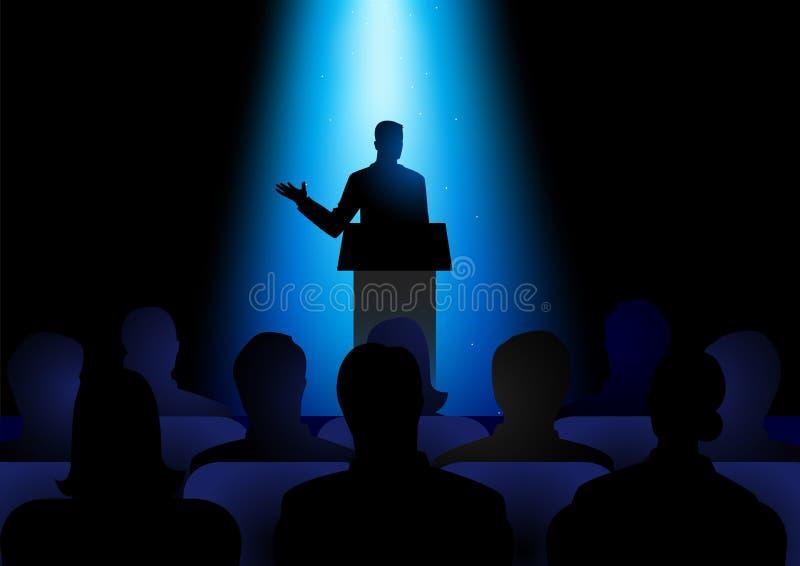 Mężczyzna Daje mowie Na scenie ilustracji