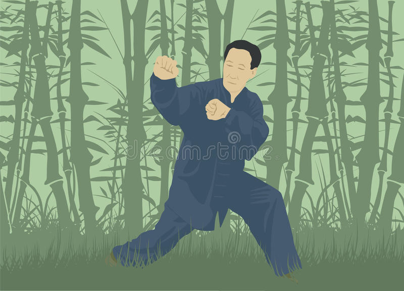Mężczyzna demonstruje technikę Kung Fu ilustracja wektor