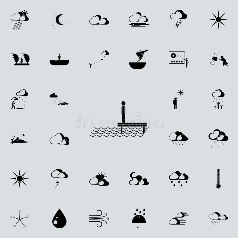 mężczyzna denną szyldową ikoną Szczegółowy set Pogodowe ikony Premii ilości graficznego projekta znak Jeden inkasowe ikony dla si royalty ilustracja