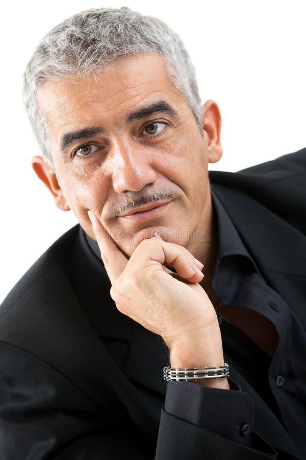 mężczyzna dojrzały portreta główkowanie obrazy stock